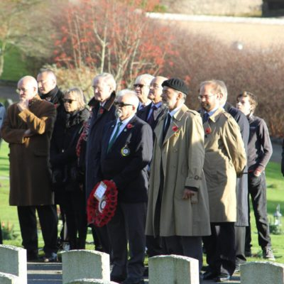 Me and Russell Travers waiting our turn to lay the SAL wreath next. Behind Russell to the left is the British Consul Gothenburg and to his left in the trench-coat and glasses is the second in command British Embassy Stockholm and to his left, the German Military Attachè