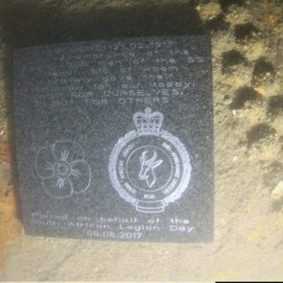 Plaque resting on SS Mendi - Photo courtesy of Garry Momber