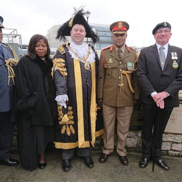 Colonel Mpela, High Commissioner Ms Tambo, Mayor Mason, Brigadier-General Ramabu and Chris Purcell of the Standard Bearers detachment.