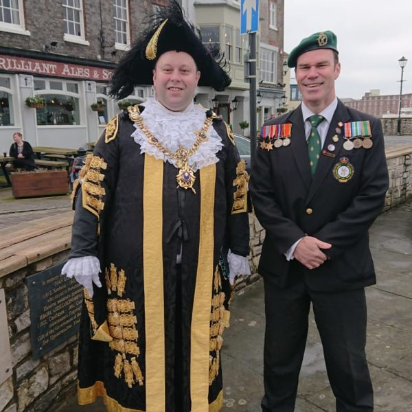 Portsmouth City Mayor, Councillor Lee Mason, and SA Legion Regional Padre Craig Esterhuizen